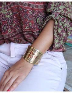 Bracelet doré motifs fleur cuivre - Mosaik bijoux indiens 2