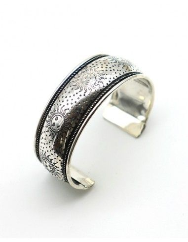 Bracelet épais argenté et soleil - Mosaik bijoux indiens