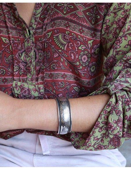 Manchette argentée lisse travaillée - Mosaik bijoux indiens