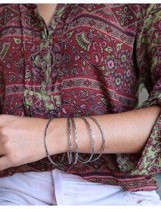 Bangles argentés travaillés - Mosaik bijoux indiens 2
