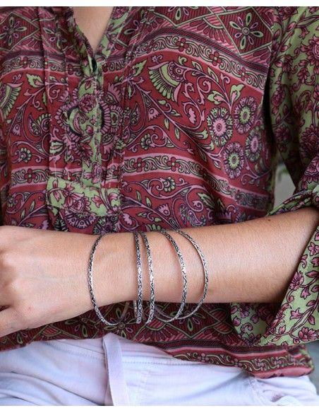 Jonc argentés fins travaillés - Mosaik bijoux indiens