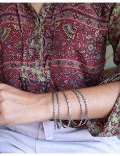 Bracelets fins argentés - Mosaik bijoux indiens 2