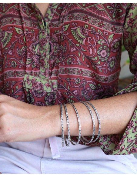 Jonc fin argenté - Mosaik bijoux indiens