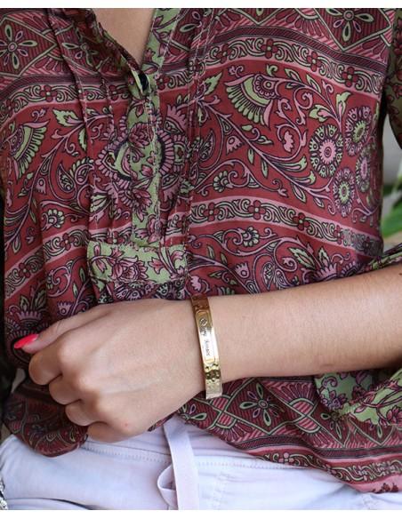 Bracelet doré écriture indienne - Mosaik bijoux indiens