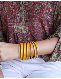 Joncs en laiton et jaune - Mosaik bijoux indiens 2