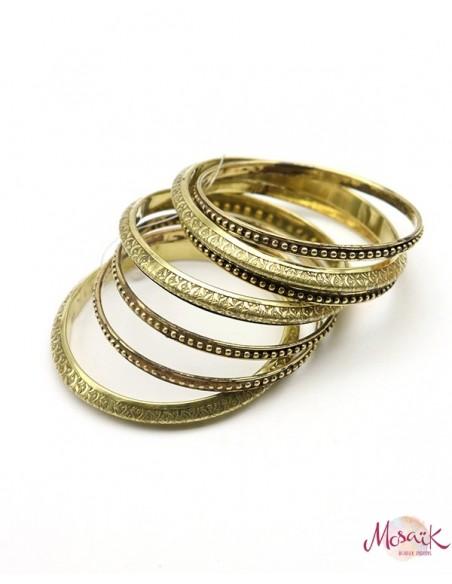 Bracelets dorés travaillés - Mosaik bijoux indiens