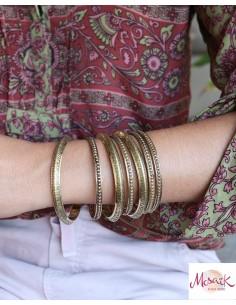 Bracelets dorés travaillés - Mosaik bijoux indiens 2