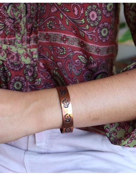 Bracelet cuivré motifs aum - Mosaik bijoux indiens