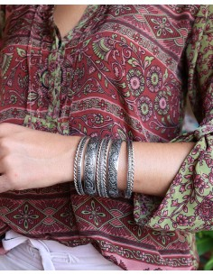 Jonc ethnique métal argenté - Mosaik bijoux indiens 2