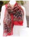 Foulard soie rouge noir et vert - Mosaik bijoux indiens