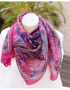 Foulard soie rose et bleu motifs éléphants - Mosaik bijoux indiens