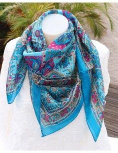 Foulard soie bleu turquoise motifs éléphants - Mosaik bijoux indiens
