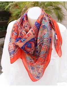 Foulard soie orange, bleu et beige motifs éléphants - Mosaik bijoux indiens