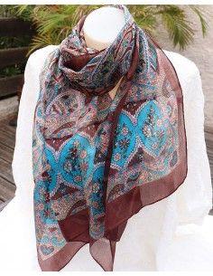 Foulard en soie marron colorés - Mosaik bijoux indiens