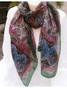 Foulard soie kaki, bleu et rouge - Mosaik bijoux indiens