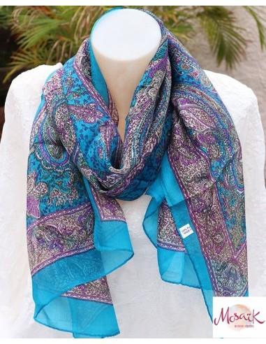 Foulard en soie fin bleu coloré - Mosaik bijoux indiens
