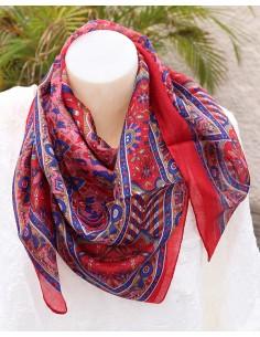 Foulard soie rouge et bleu marine - Mosaik bijoux indiens