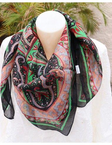 Foulard en soie noir à motifs - Mosaik bijoux indiens