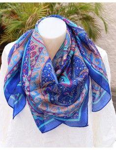 Foulard soie bleue marie à motifs - Mosaik bijoux indiens