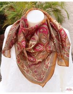 Foulard en soie fin marron clair - Mosaik bijoux indiens