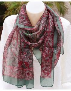 Foulard kaki en soie - Mosaik bijoux indiens
