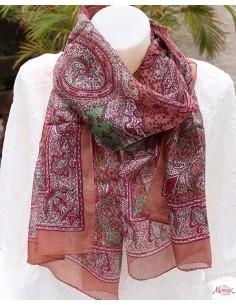 Foulard en soie marron à motifs - Mosaik bijoux indiens