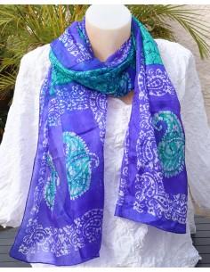 Foulard en soie violet et vert