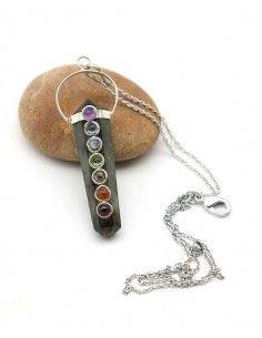 Collier pendentif labradorite naturelle - Mosaik bijoux indiens
