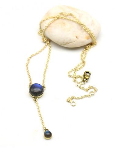 Collier doré et labradorite naturelle - Mosaik bijoux indiens