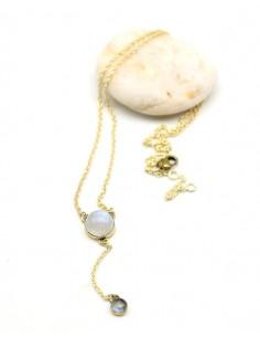 Collier fin doré et pierre de lune - Mosaik bijoux indiens