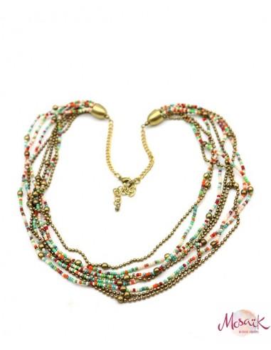 Collier en perles colorées - Mosaik bijoux indiens