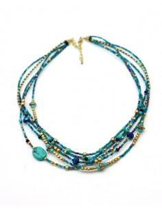 Collier perles bleues - Mosaik bijoux indiens