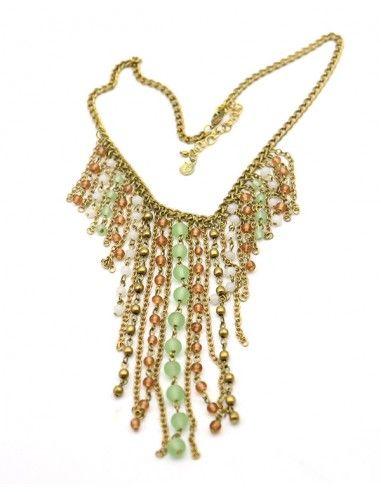 Collier doré en perles colorées - Mosaik bijoux indiens
