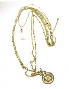 Sautoir laiton perles et pendentif - Mosaik bijoux indiens
