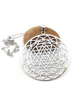 Collier fin et gros pendentif rond - Mosaik bijoux indiens