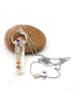Collier et pendentif en cristal de roche - Mosaik bijoux indiens