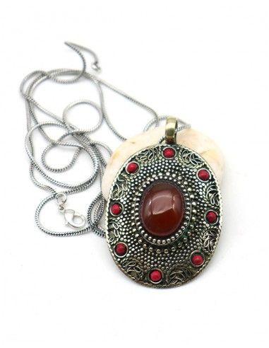 Pendentif ethnique pierre rouge - Mosaik bijoux indiens