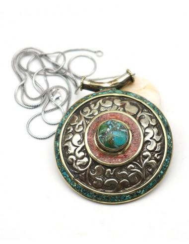 Gros pendentif ethnique - Mosaik bijoux indiens