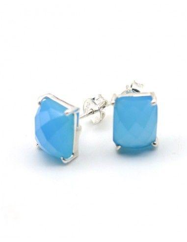 clou d'oreille agate bleue - Mosaik bijoux indiens