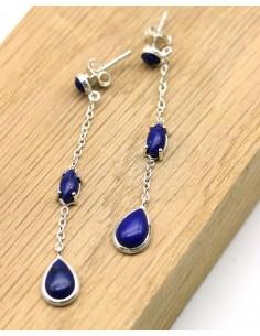 Boucles d'oreilles pendantes et lapis lazuli - Mosaik bijoux indiens