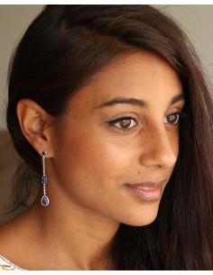 Boucles d'oreilles pendantes et lapis lazuli - Mosaik bijoux indiens 2