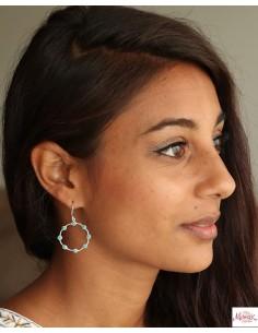 Boucles d'oreilles rondes argent et turquoises - Mosaik bijoux indiens 2