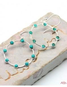 Boucles d'oreilles rondes argent et turquoises - Mosaik bijoux indiens