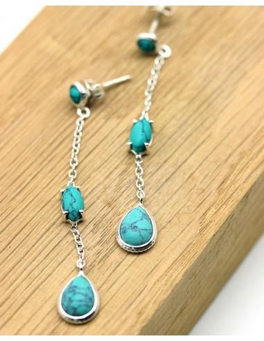 Boucles d'oreilles pendantes fines et turquoises - Mosaik bijoux indiens