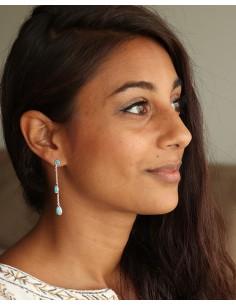 Boucles d'oreilles pendantes fines et turquoises - Mosaik bijoux indiens 2