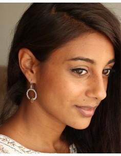 Boucles d'oreilles travaillées argent et oeil de tigre - Mosaik bijoux indiens 2