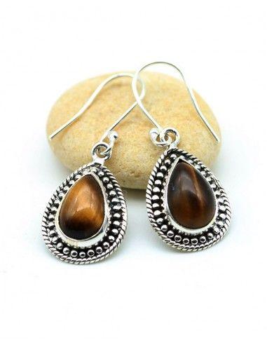 Boucles d'oreilles argent et oeil de tigre - Mosaik bijoux indiens