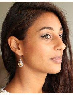 Boucles d'oreilles argent et oeil de tigre - Mosaik bijoux indiens 2
