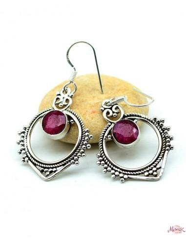 Boucles argent et rubis indien - Mosaik bijoux indiens