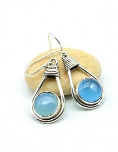 Boucles argent pierre bleue - Mosaik bijoux indiens